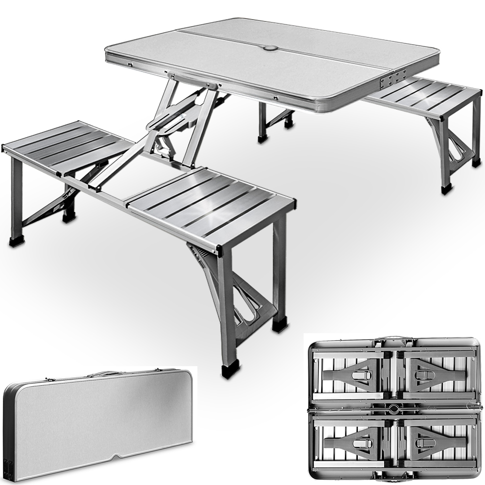 2x Banque Aspect Rotin Salon Valise Table pliante Garniture de table pliante