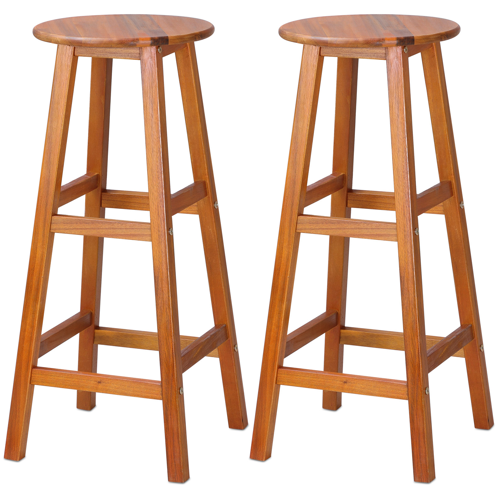 Wooden Bar Stool Set 2x Kitchen Breakfast Chair Dining