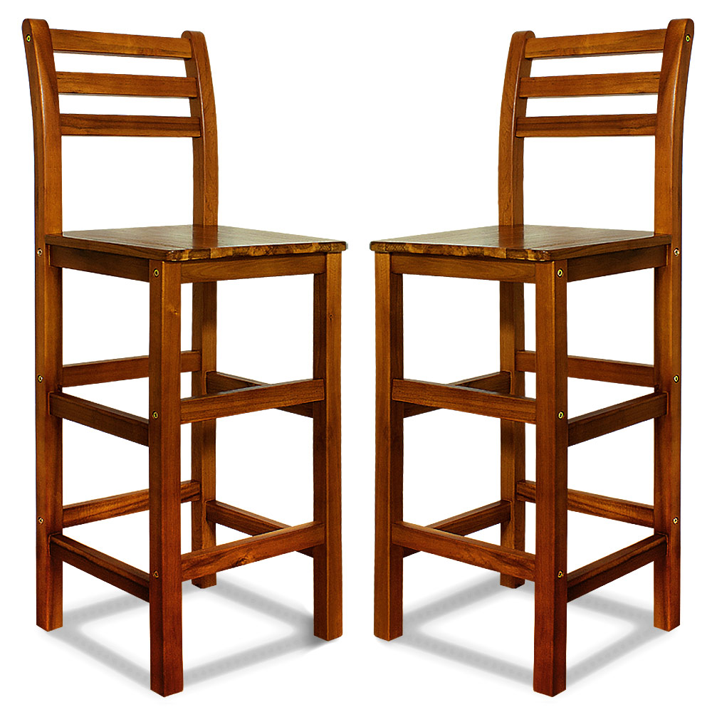 Wooden Bar Stool Set Kitchen Breakfast Back Rest 2x