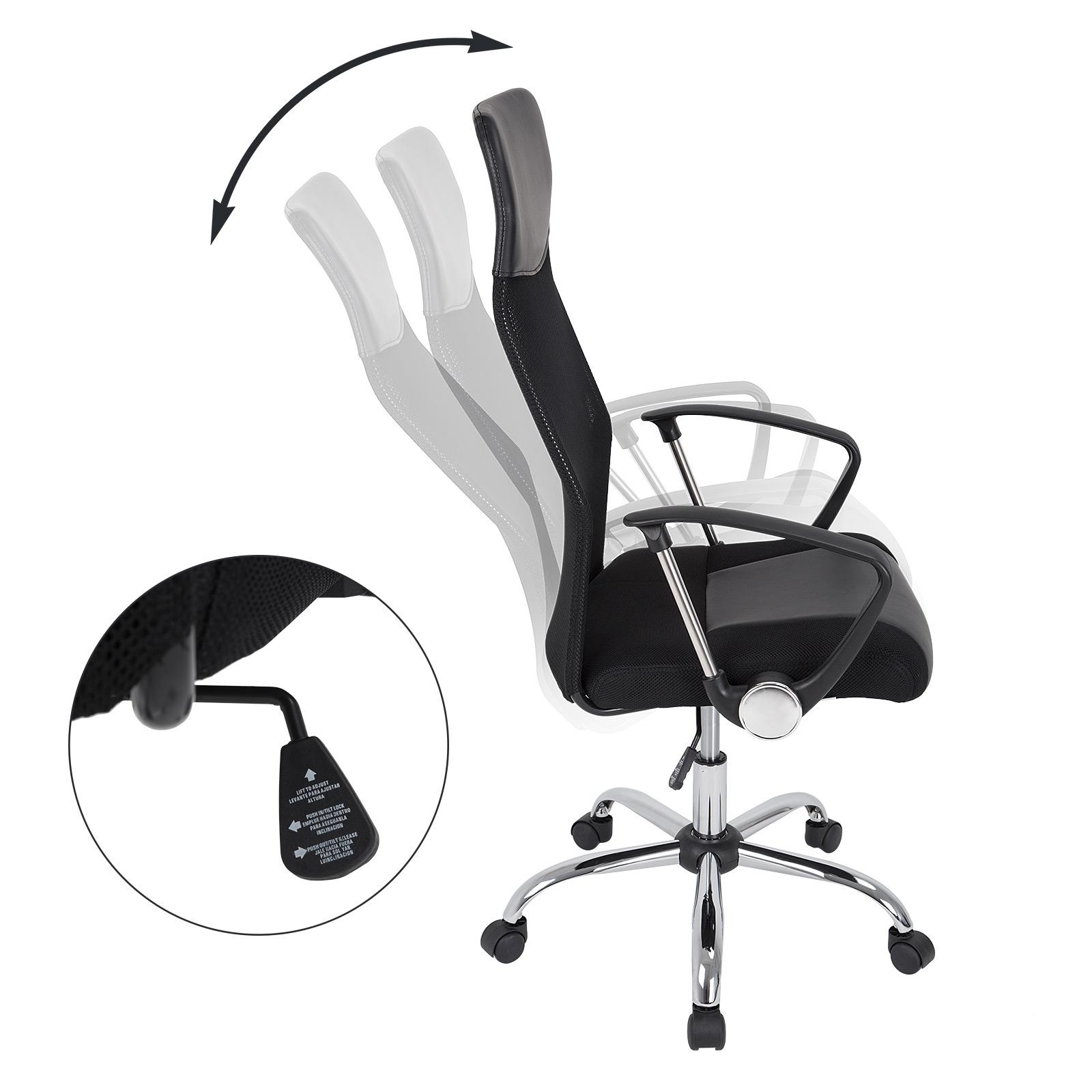 fauteuil chaise de bureau noire inclinable ergonomique design moderne ebay. Black Bedroom Furniture Sets. Home Design Ideas