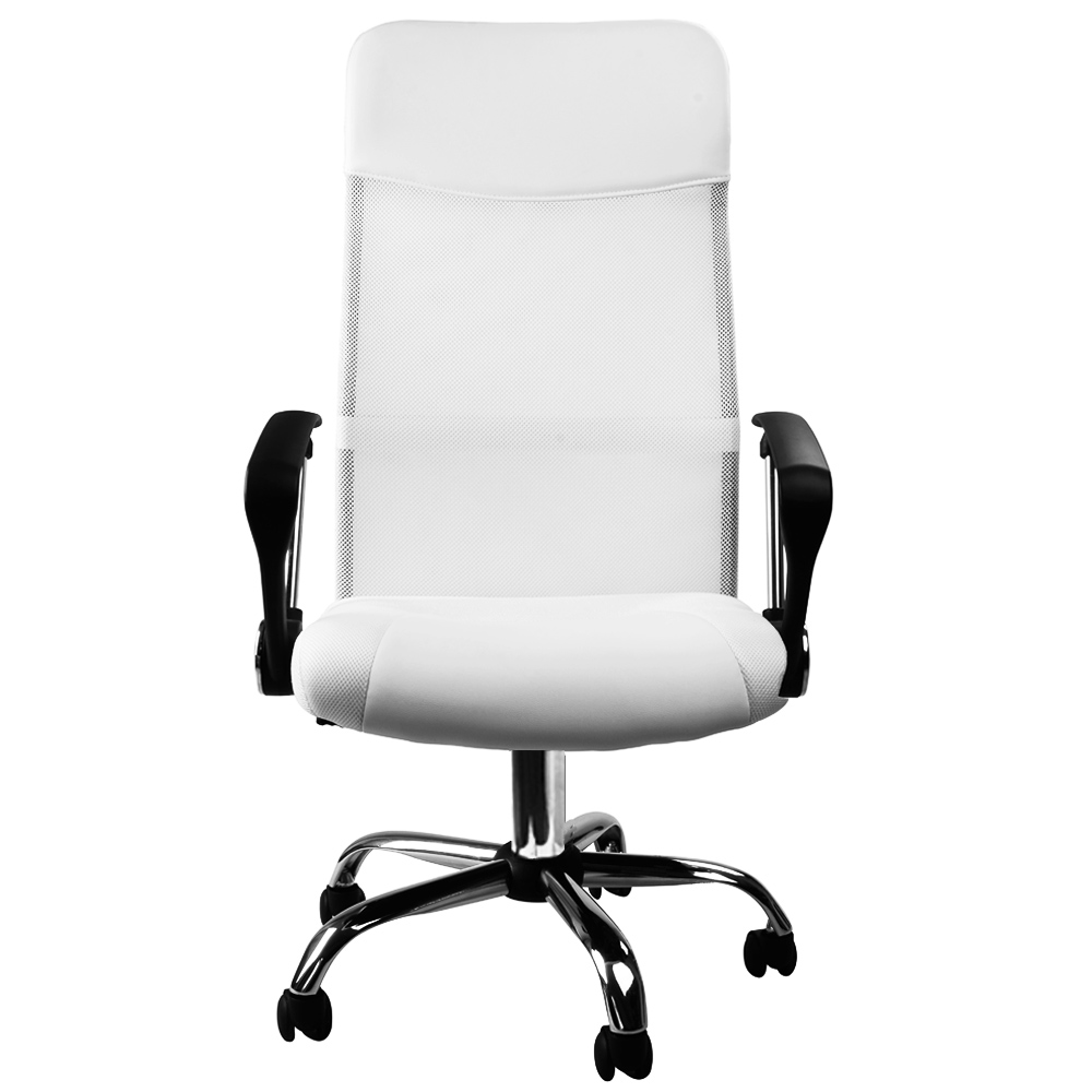 Fauteuil chaise de bureau blanche inclinable ergonomique for Chaise inclinable