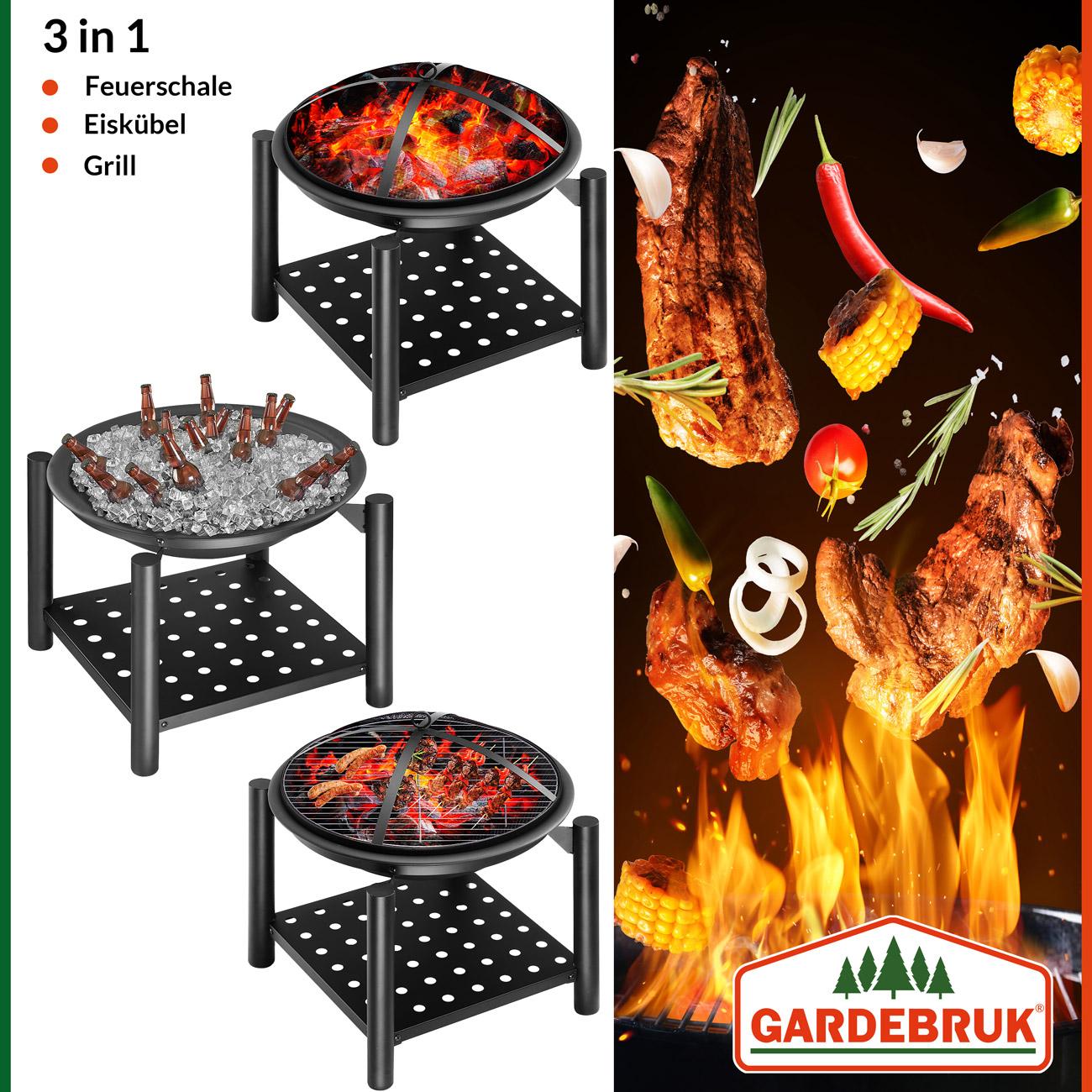 Brasero À L Éthanol détails sur braséro rond 55cm avec grille et tisonnier chauffage extérieur  jardin terrasse