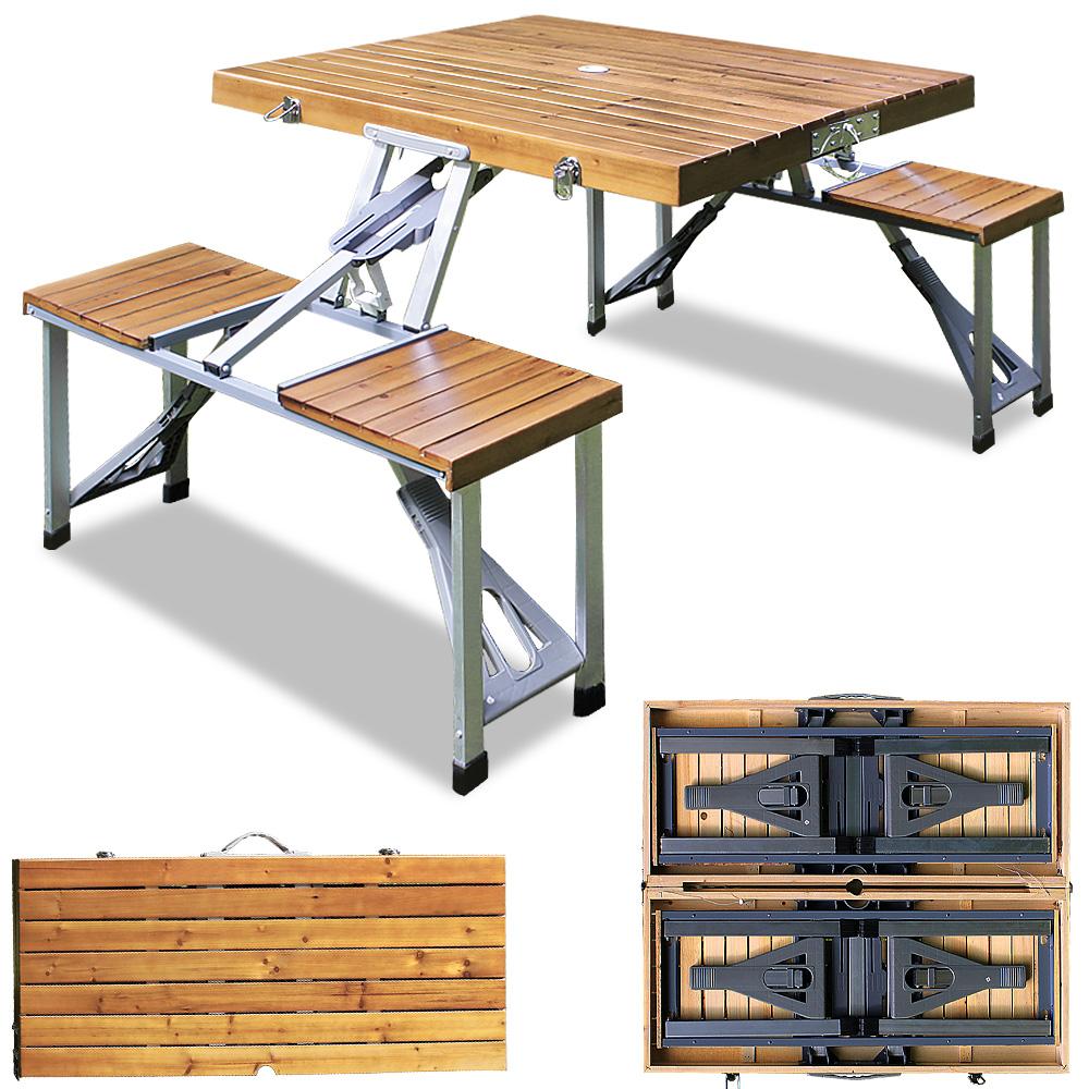 88101157 Campingtisch Sitzgarnitur aus Alu mit Sitzflächen aus Holz