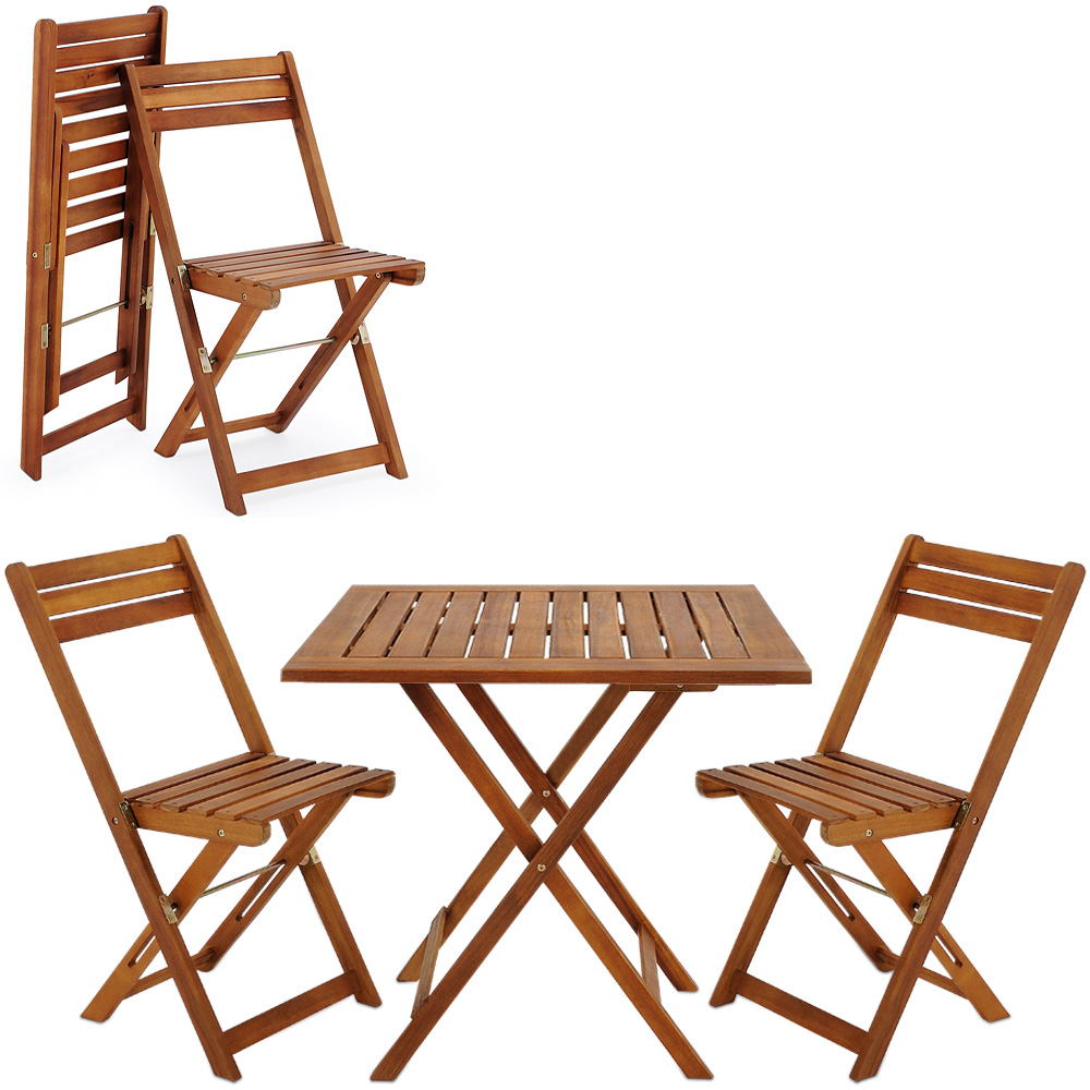 Wooden furniture set balcony patio folding table chairs for Chaise transparente table bois