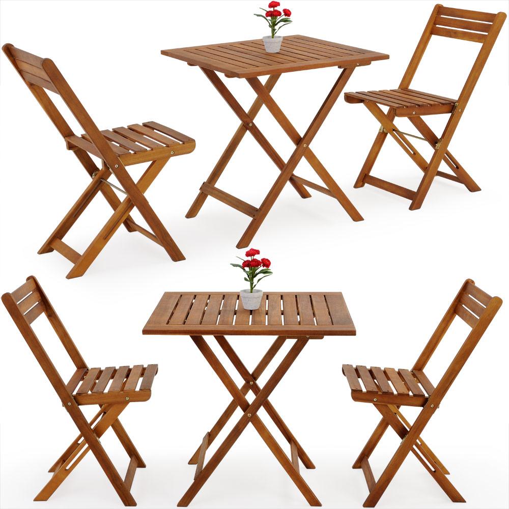 Détails sur Ensemble table et chaises en bois d´acacia 2 chaises et 1 table  salon de jardin