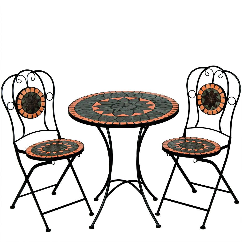 salon de jardin terracotta mosaique 1 table et 2 chaises. Black Bedroom Furniture Sets. Home Design Ideas