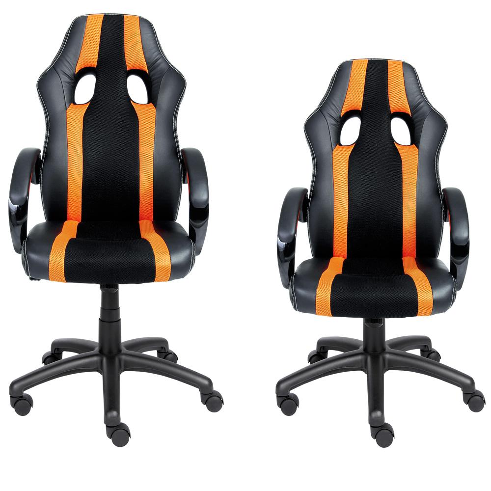 Chaise de bureau sport fauteuil siege baquet noire grise for Chaise de voiture