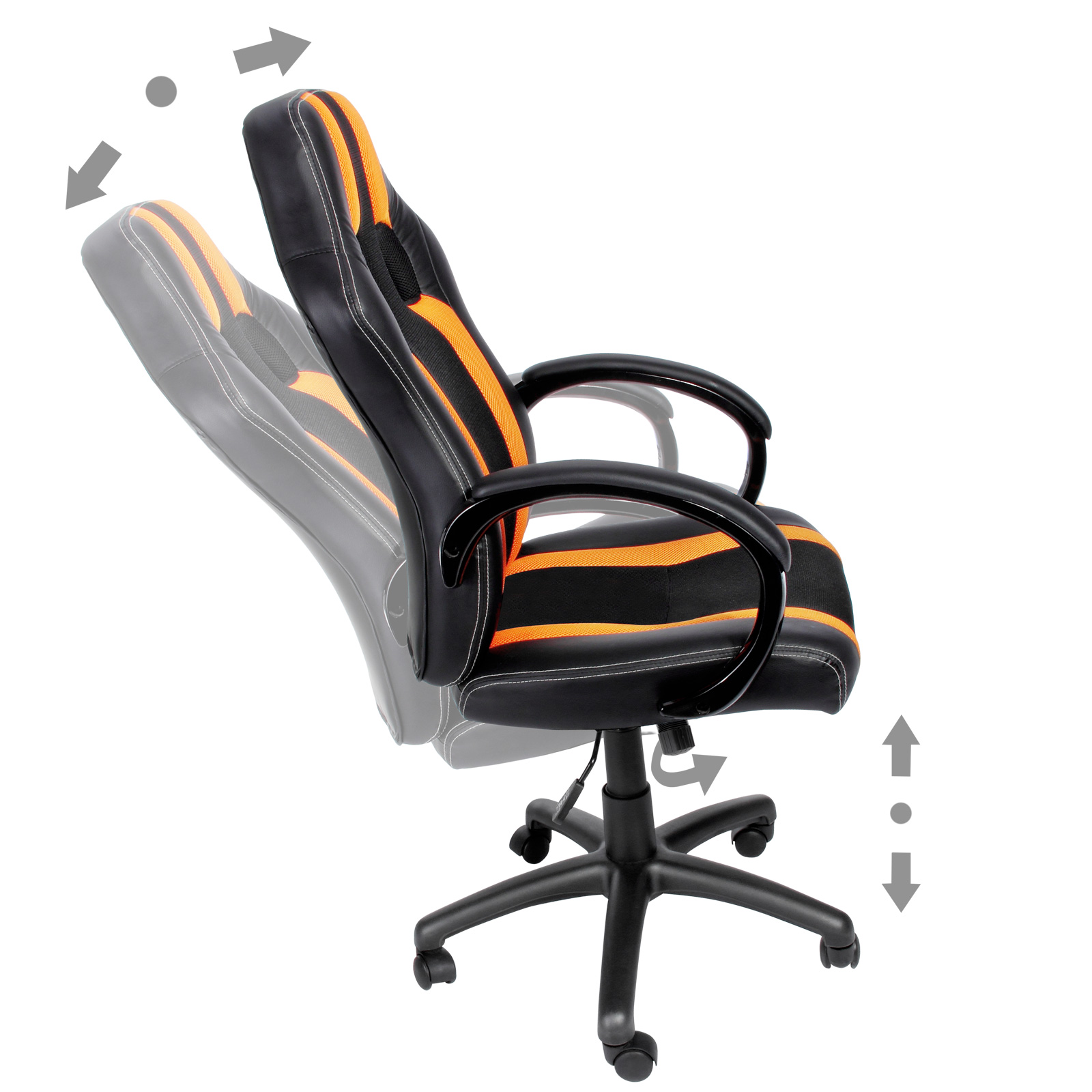 chaise de bureau sport fauteuil siege baquet noire grise orange voiture sport ebay. Black Bedroom Furniture Sets. Home Design Ideas