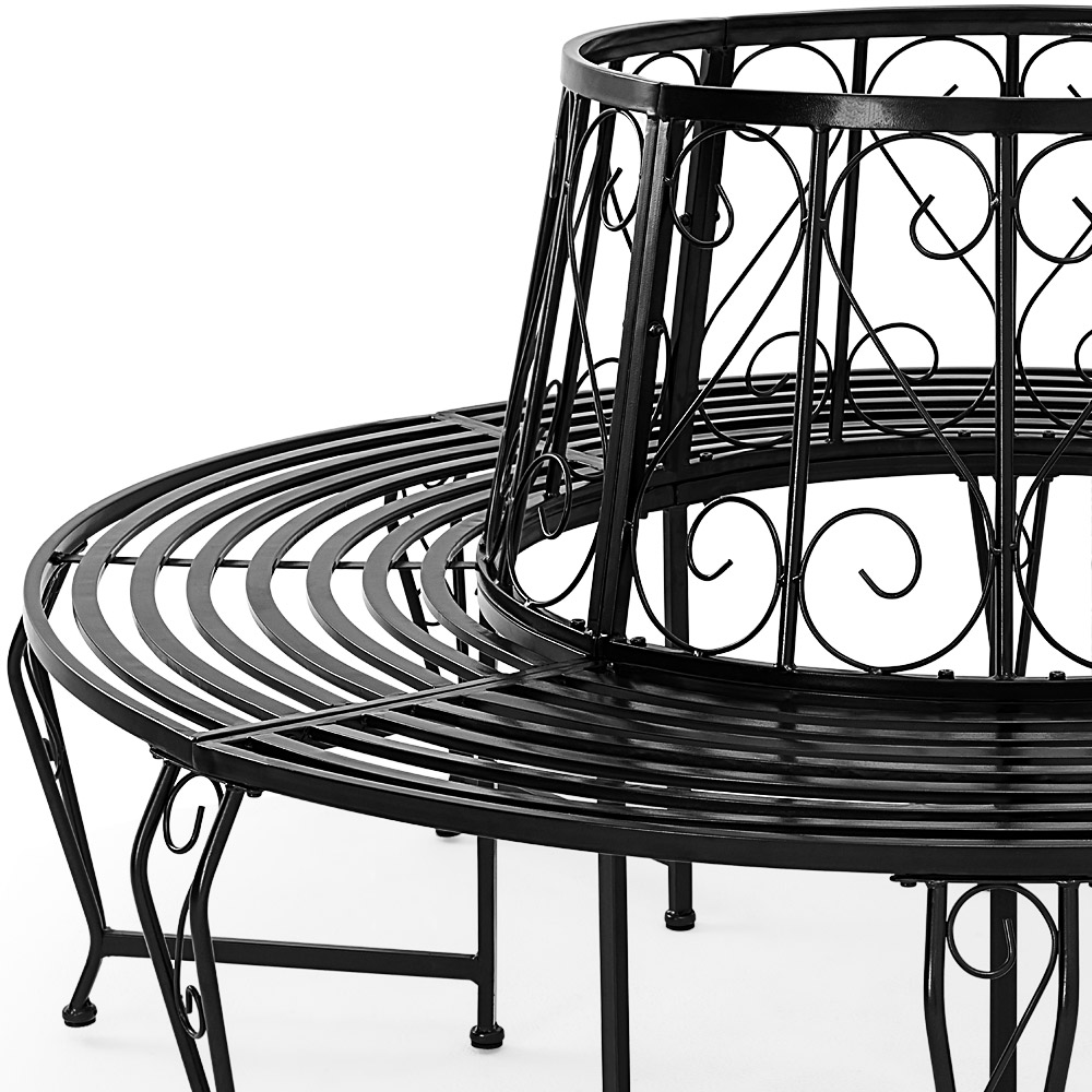 baumbank 360 rundbank gartenbank parkbank gartenbank sitzbank metall baum bank 4250525338843 ebay. Black Bedroom Furniture Sets. Home Design Ideas