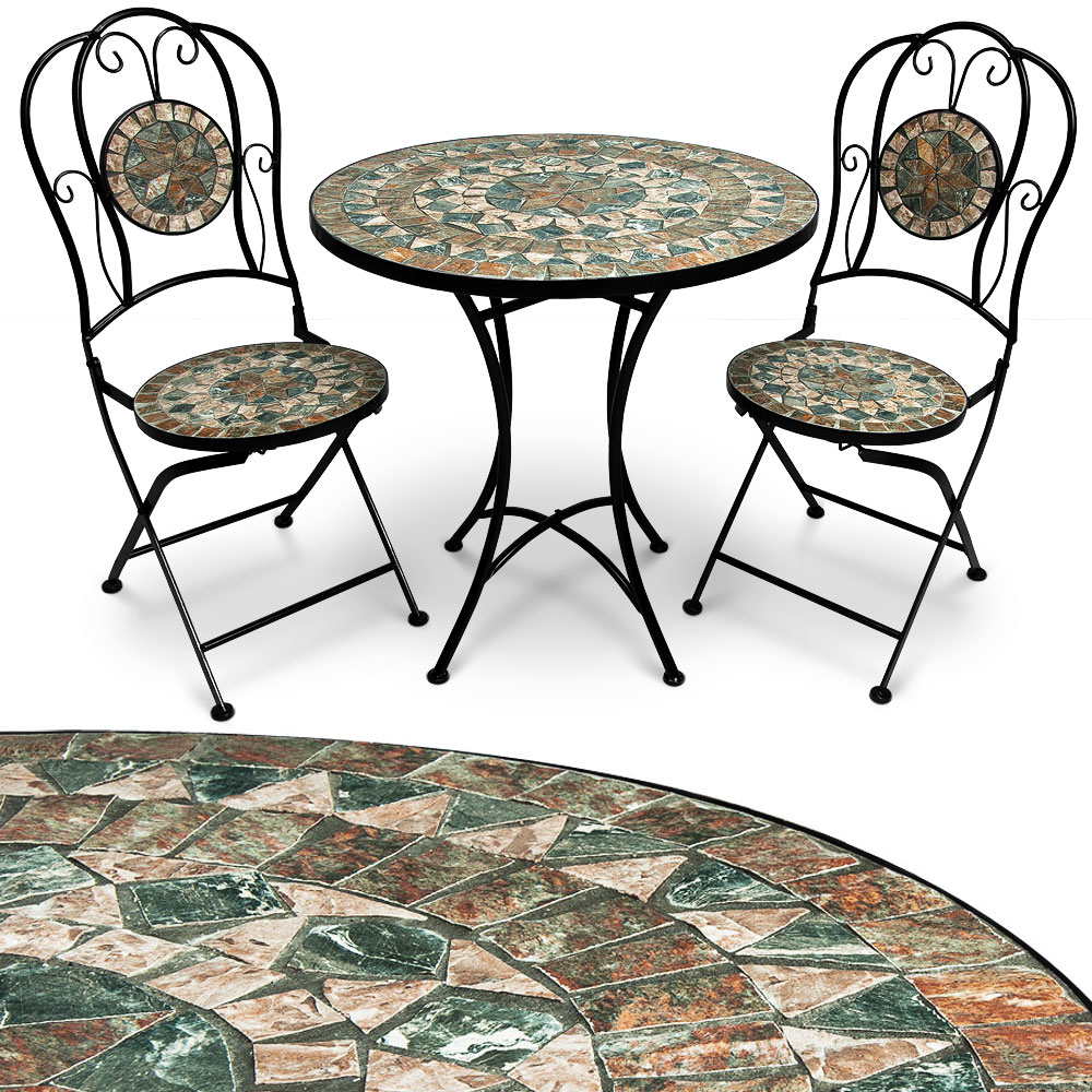 mosaik gartengarnitur sitzgarnitur gartenm bel sitzgruppe tisch bistrotisch set ebay. Black Bedroom Furniture Sets. Home Design Ideas