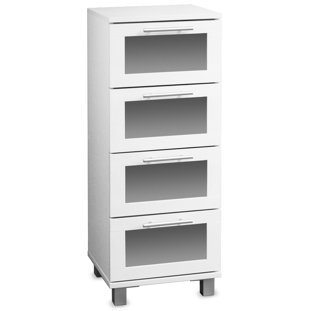commode de salle de bain blanche avec 4 tiroirs armoire meuble salle de bain ebay. Black Bedroom Furniture Sets. Home Design Ideas