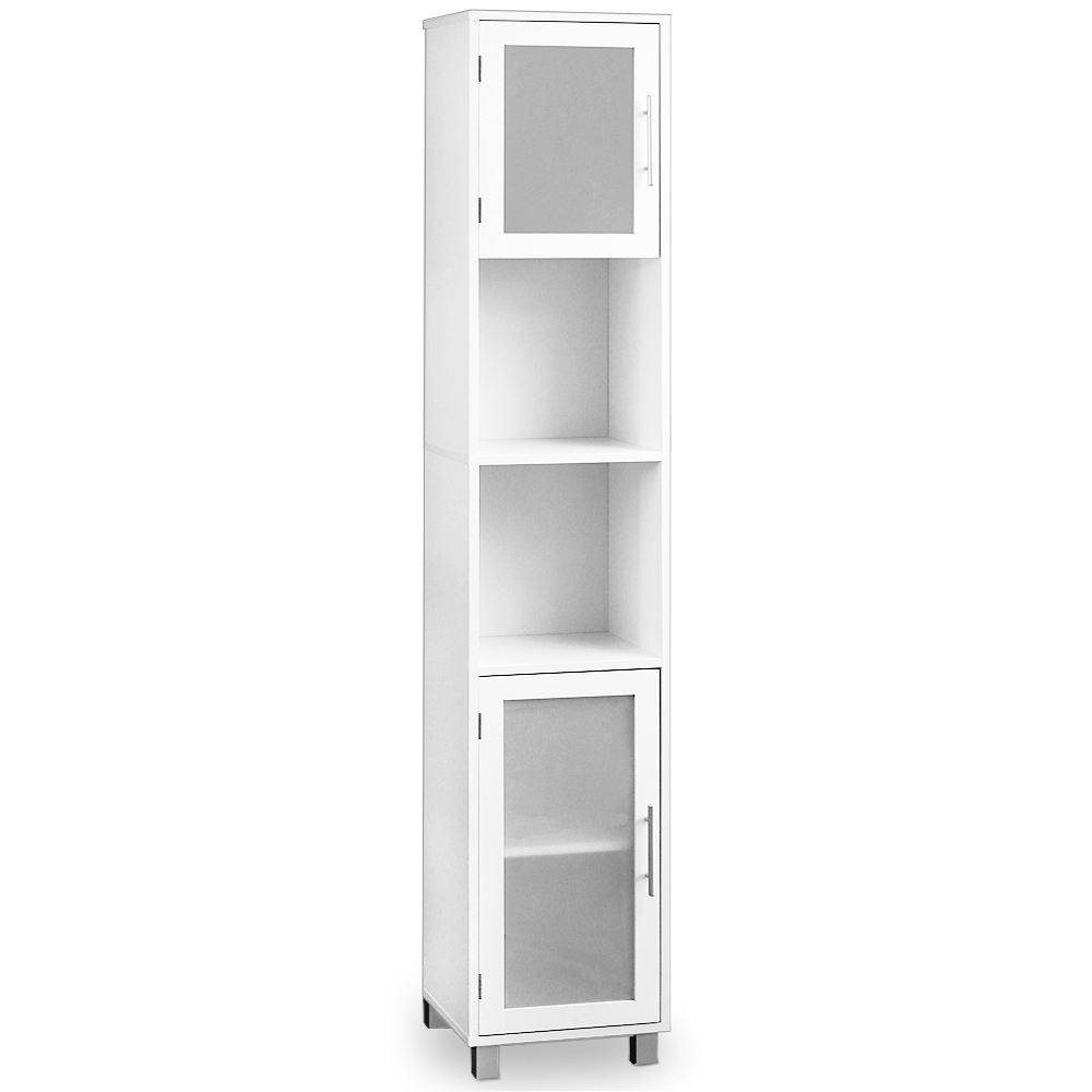 tall bathroom storage cabinets with doors bathroom cabinet white with satinised glass doors 25781