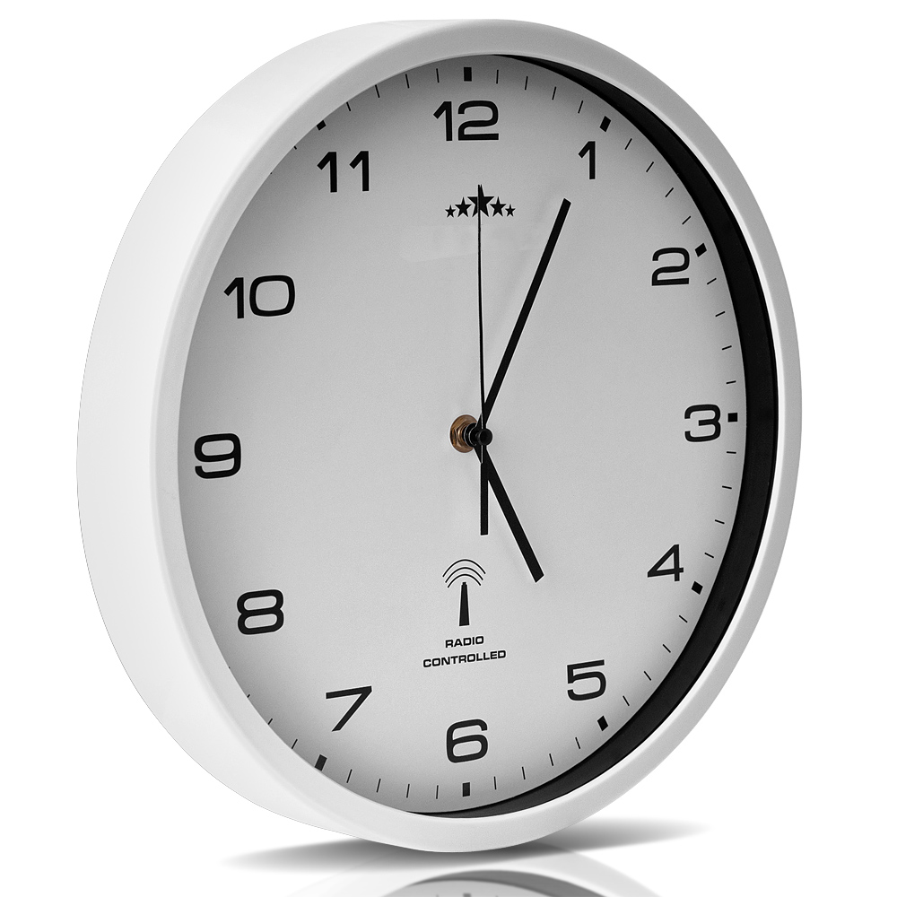 horloge murale blanche radio pilot e changement heure automatique 31 cm ebay. Black Bedroom Furniture Sets. Home Design Ideas