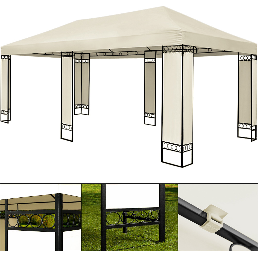 double gazebo 4 x 6 m metal creme white party tent garden. Black Bedroom Furniture Sets. Home Design Ideas