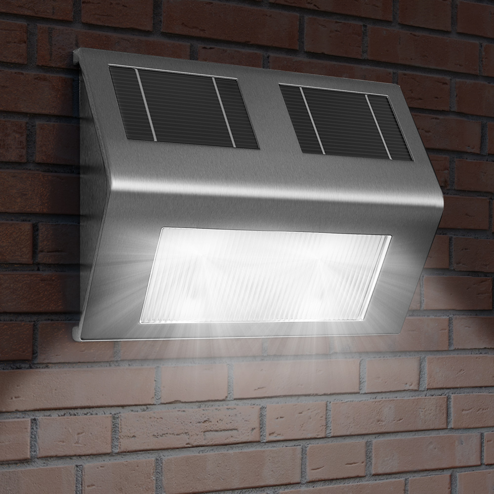 88101594 LED l Solar Wandleuchte Edelstahl