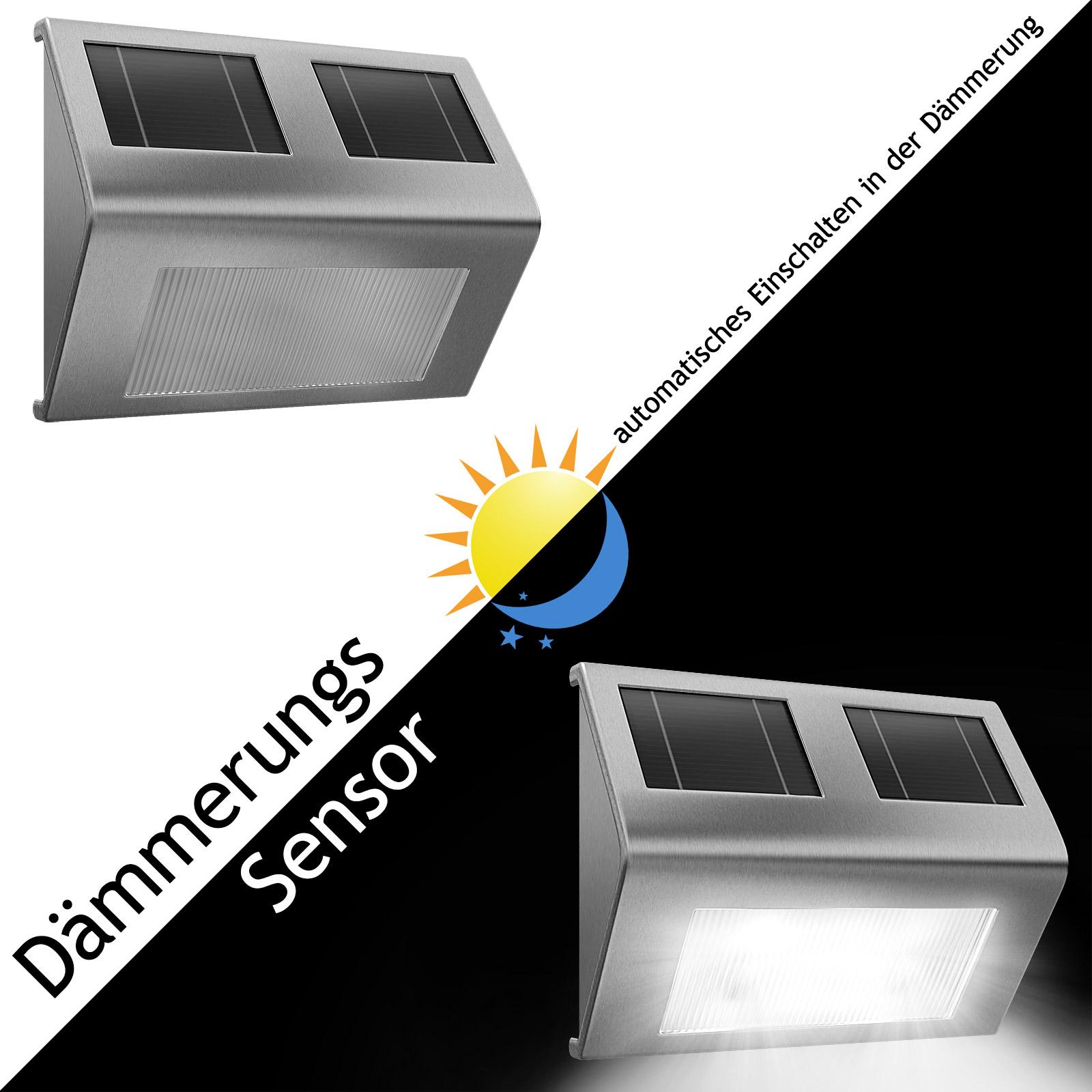 4x led solar wandleuchte solarleuchte edelstahl gartenlampe wandlampe au enlampe ebay. Black Bedroom Furniture Sets. Home Design Ideas