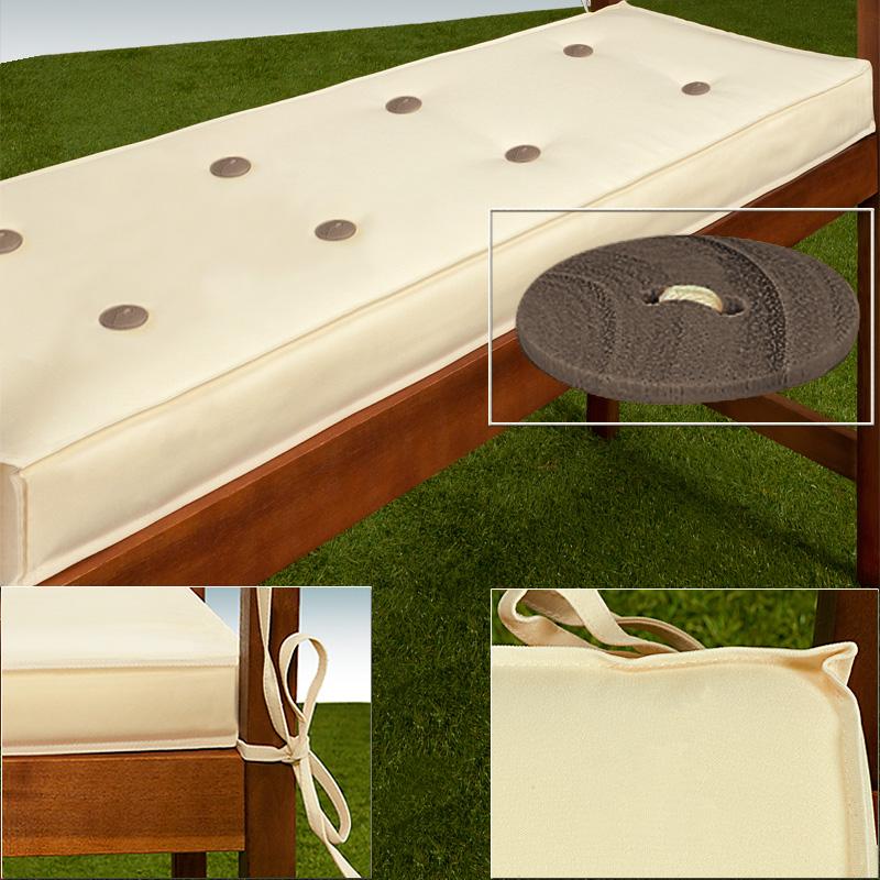 88101640 3er Sitzauflage 145 x 45 x 7 cm weiß