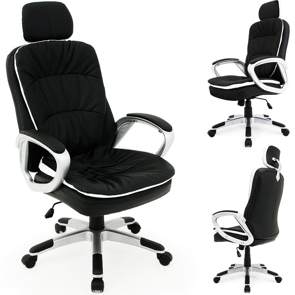 chaise fauteuil de bureau confort noir fauteuil ergonomique repose t te flexible ebay. Black Bedroom Furniture Sets. Home Design Ideas