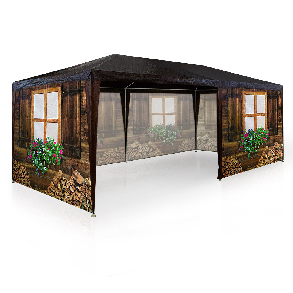 partyzelt festzelt 3x6m oktoberfest bierzelt pavillon holzh tte gartenzelt zelt ebay. Black Bedroom Furniture Sets. Home Design Ideas