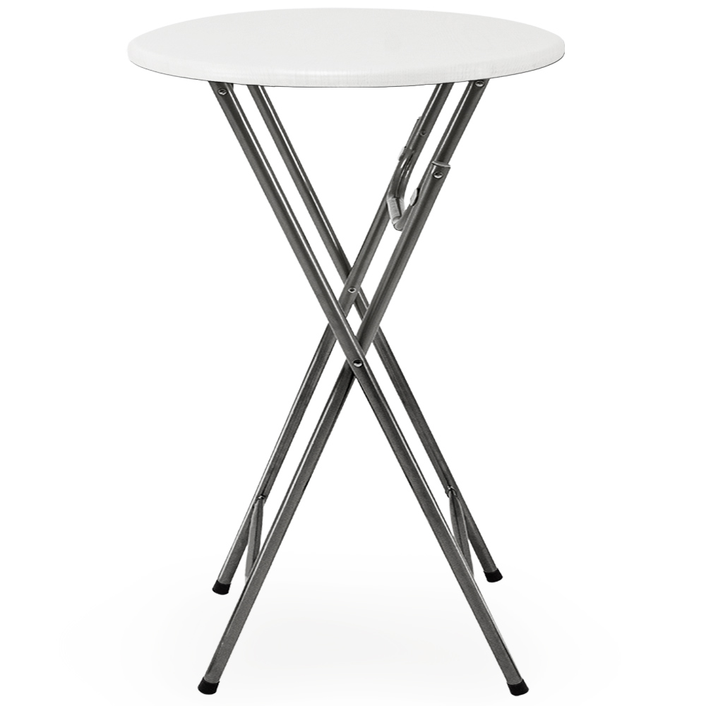 table haute pliable table de bar bistrot pliante en mdf blanc avec d cor bois ebay. Black Bedroom Furniture Sets. Home Design Ideas