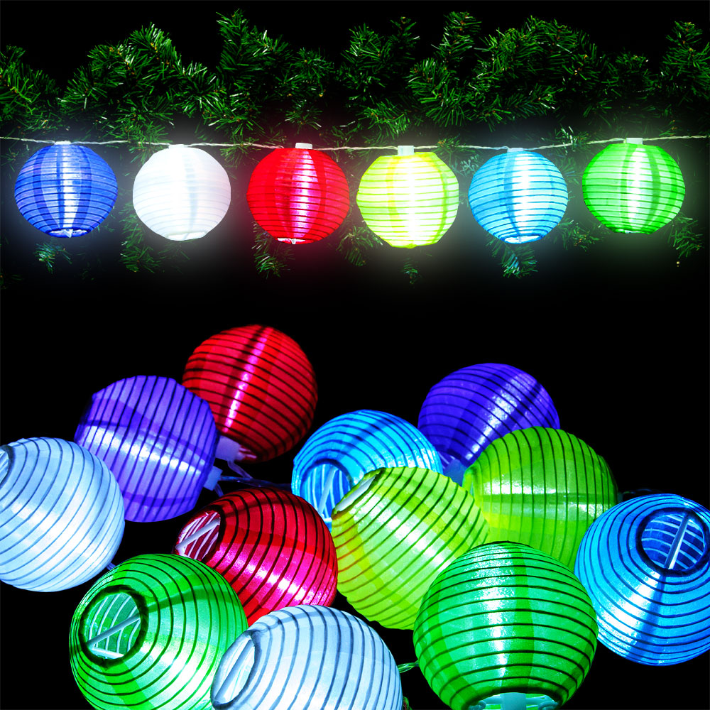 24 led lichterkette lampion garten stofflaterne lichter girlande pavillon lampen ebay. Black Bedroom Furniture Sets. Home Design Ideas