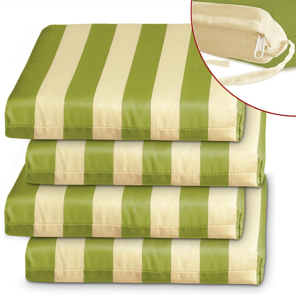 b ware 4 sitzkissen 8cm auflage garten stuhl sitzauflage stuhlauflage sofa gr n ebay. Black Bedroom Furniture Sets. Home Design Ideas
