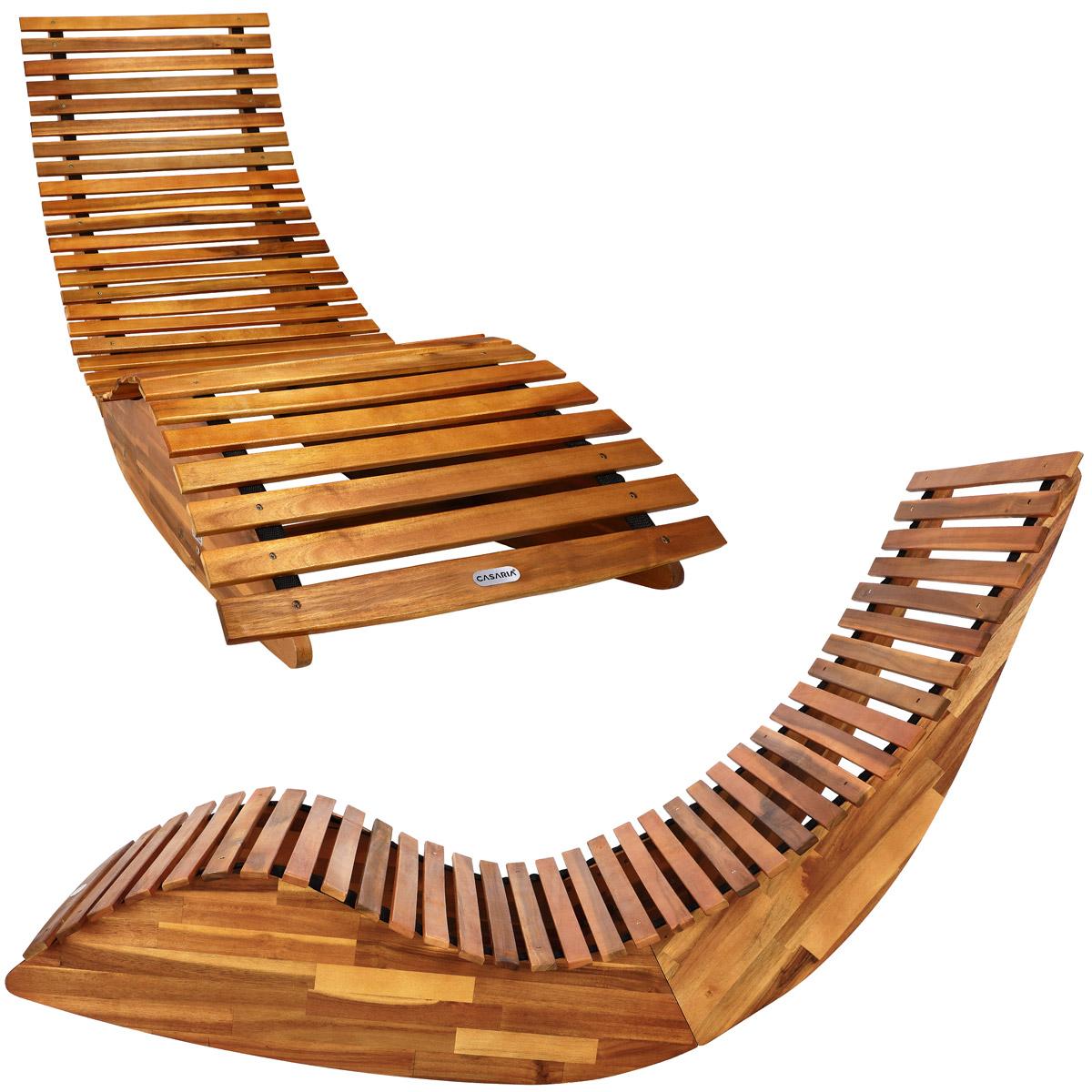 chaise longue bascule en bois certifi fsc transat ergonomique de jardin ebay. Black Bedroom Furniture Sets. Home Design Ideas
