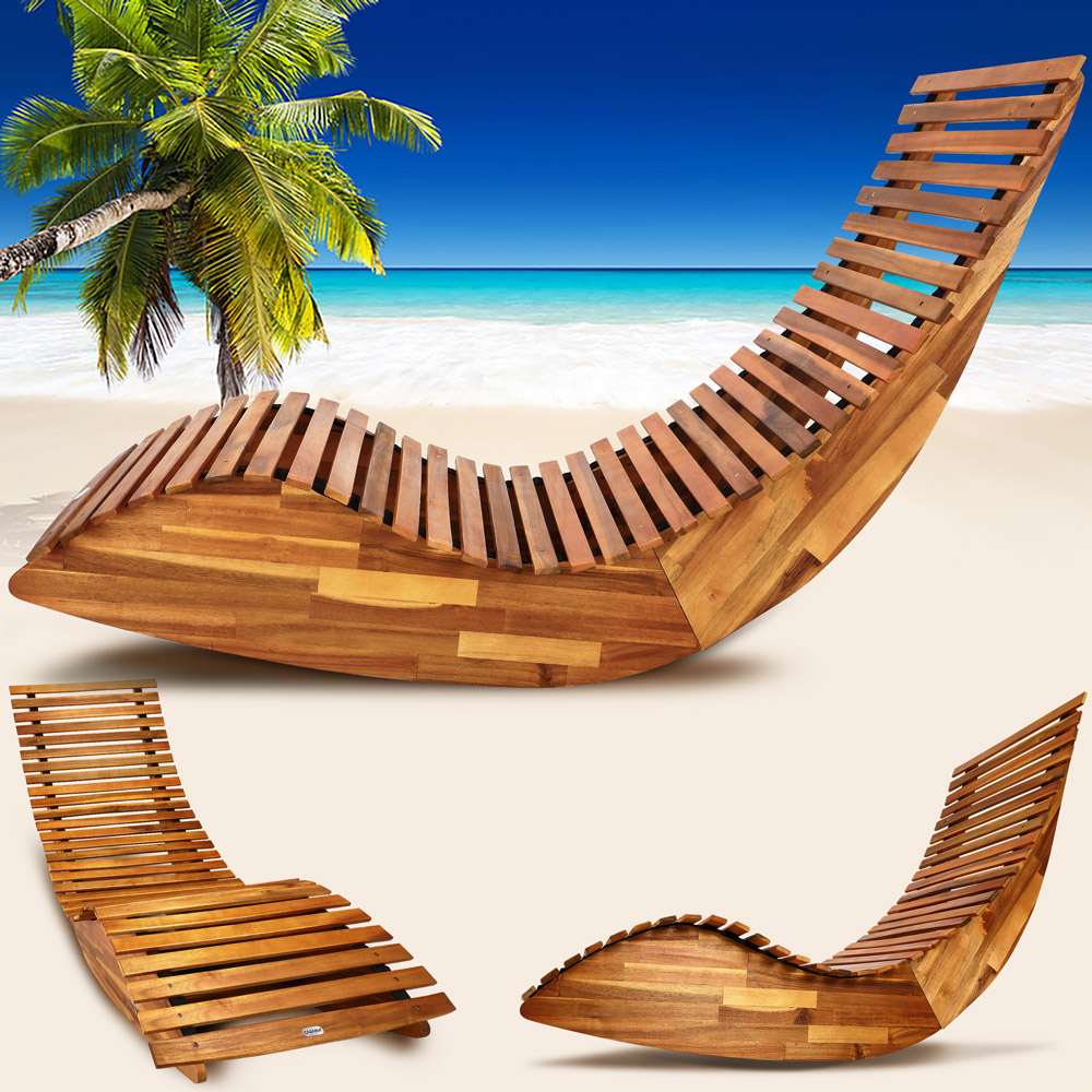 Ergonomic Sun Lounger Wooden Garden Sauna Deck Chair Day