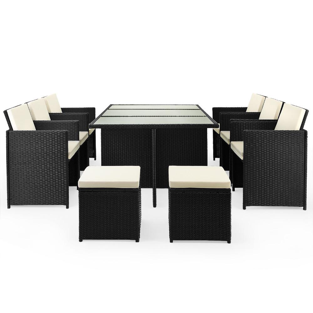 b ware poly rattan sitzgruppe 27 tlg garnitur gartenm bel esssgruppe lounge ebay. Black Bedroom Furniture Sets. Home Design Ideas