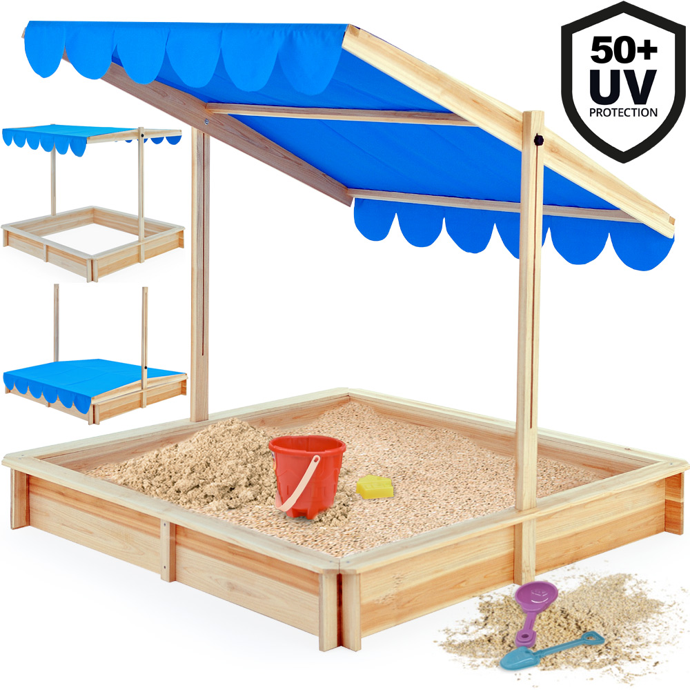 Sandbox 120x120cm Sand Pit Box Adjustable Canopy Outdoor