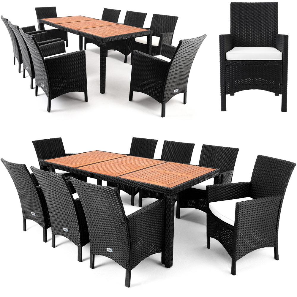 Salon de jardin 17 pcs ensemble table 8 chaises alu polyrotin bois d 39 acacia ebay - Salon de jardin acacia et alu ...