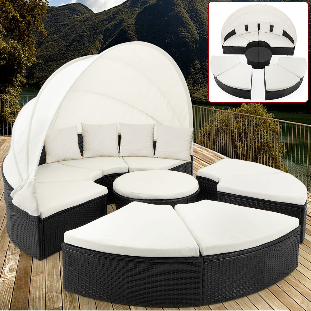 Details about poly rattan day bed lounger outdoor garden furniture patio sofa roof sunbed