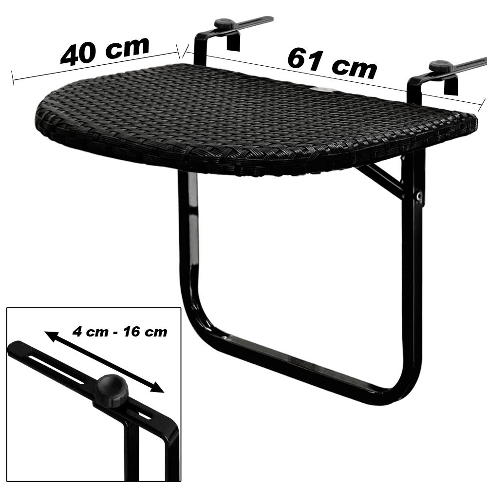 table de balcon tablette suspendue ajustable en hauteur rabattable polyrotin ebay. Black Bedroom Furniture Sets. Home Design Ideas