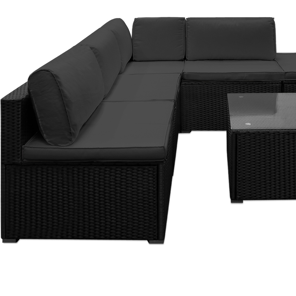 Black Rattan Corner Sofa Set 5 Piece Black Rattan Corner Sofa Set Thesofa