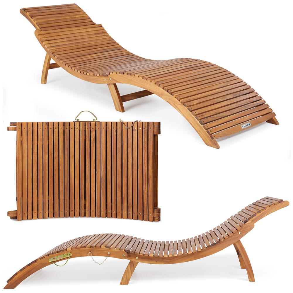 Details About Wooden Sun Lounger Ergonomic Deck Chair Foldable Comfortable Headrest Folding