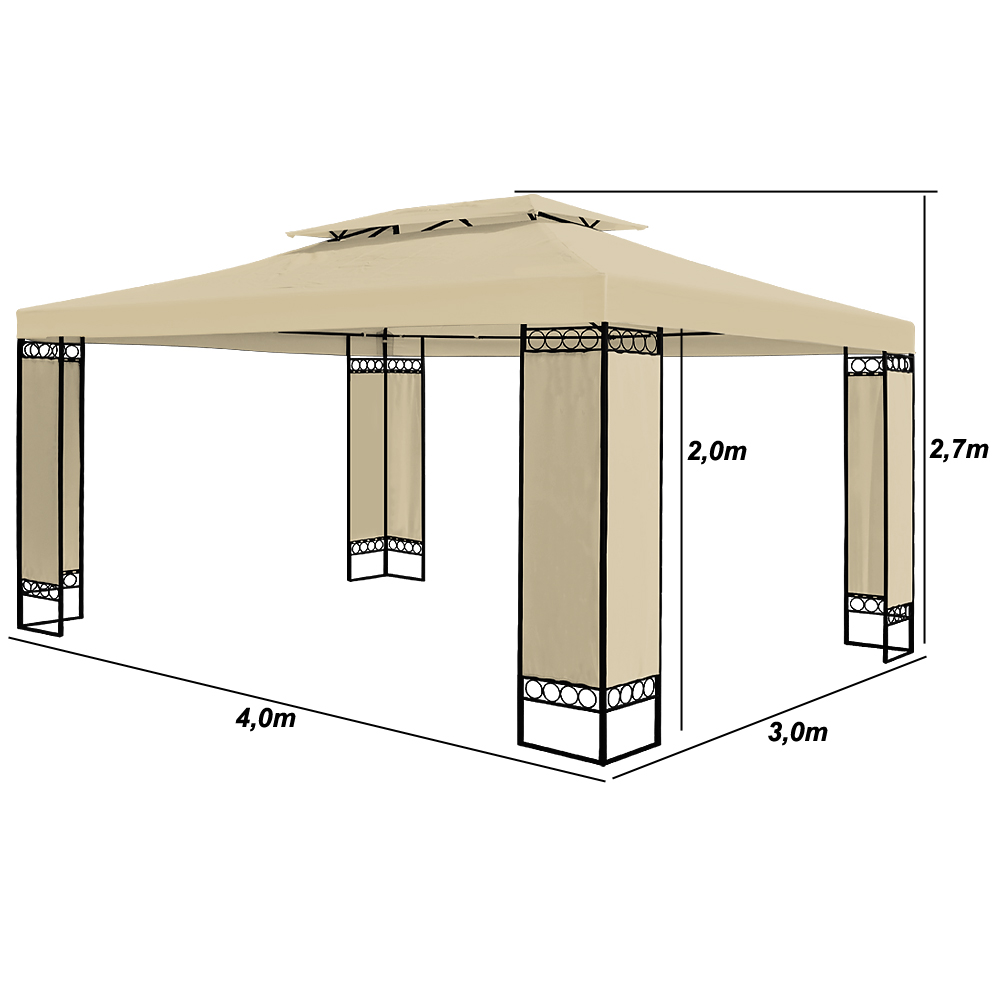 pavillon 3x4m festzelt zelt partyzelt gartenpavillon bierzelt garten elda creme ebay. Black Bedroom Furniture Sets. Home Design Ideas