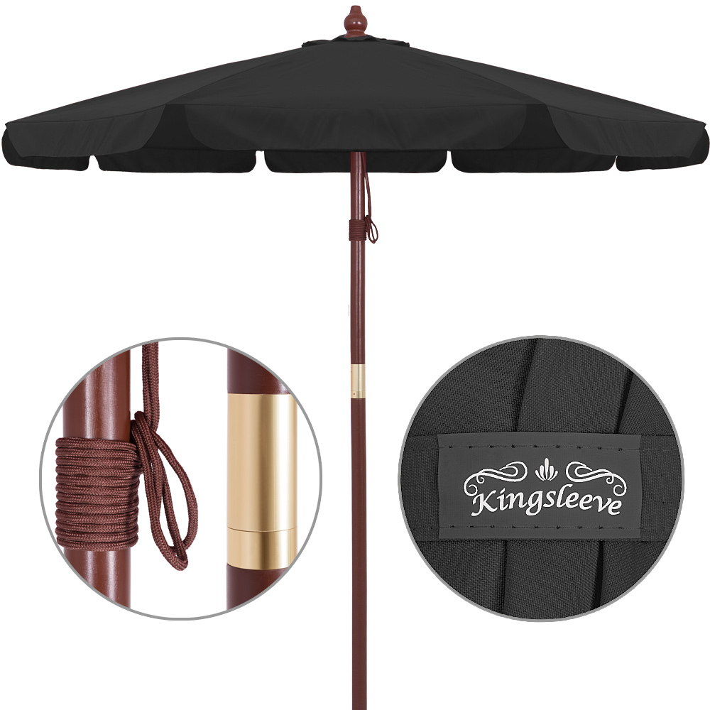 parasol en bois 350cm jardin syst me corde 100. Black Bedroom Furniture Sets. Home Design Ideas