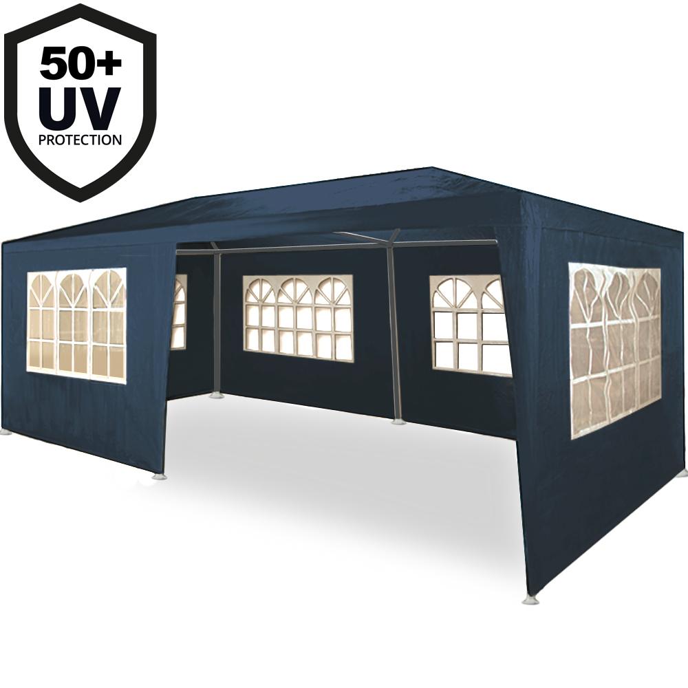 88105736 Festzelt 3x6m mit Seitenwänden und Rundbogenfenster - Rimini - blau