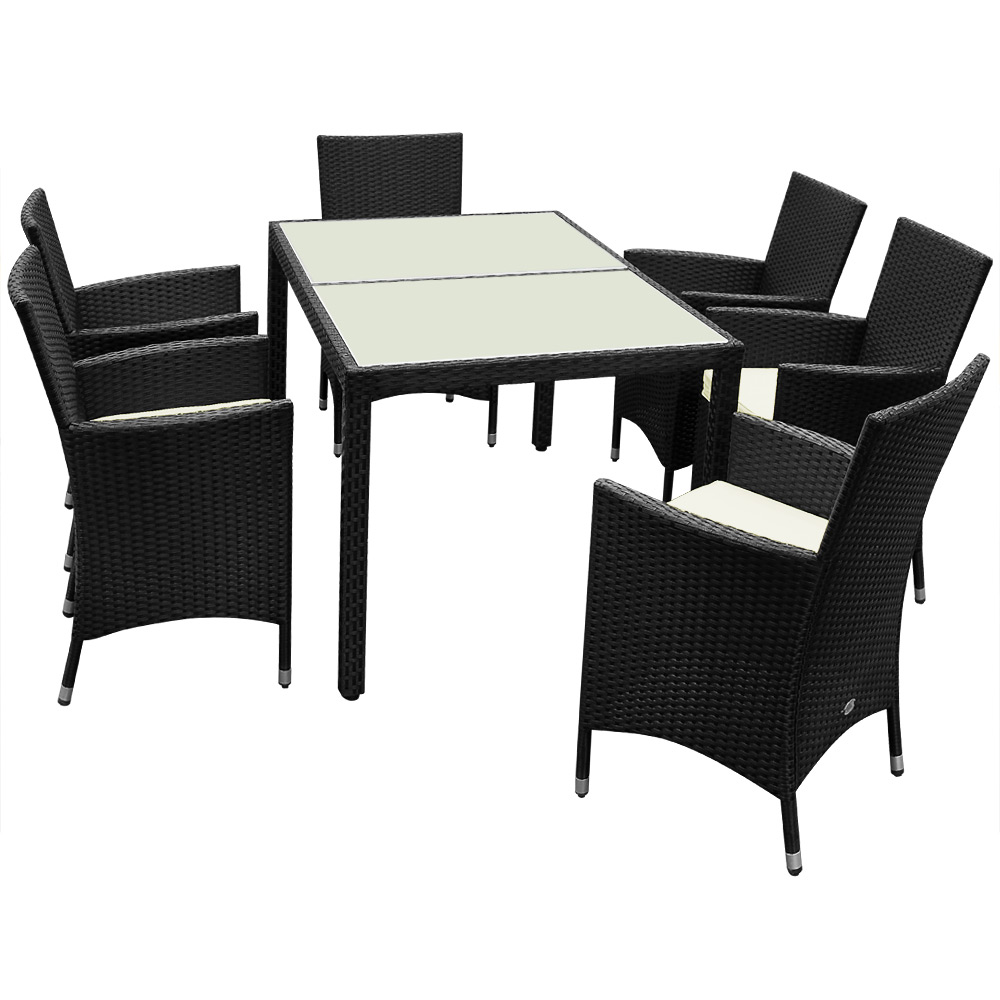 deuba sitzgruppe poly rattan sitzgarnitur 6 1 gartenm bel essgruppe gartenset ebay. Black Bedroom Furniture Sets. Home Design Ideas