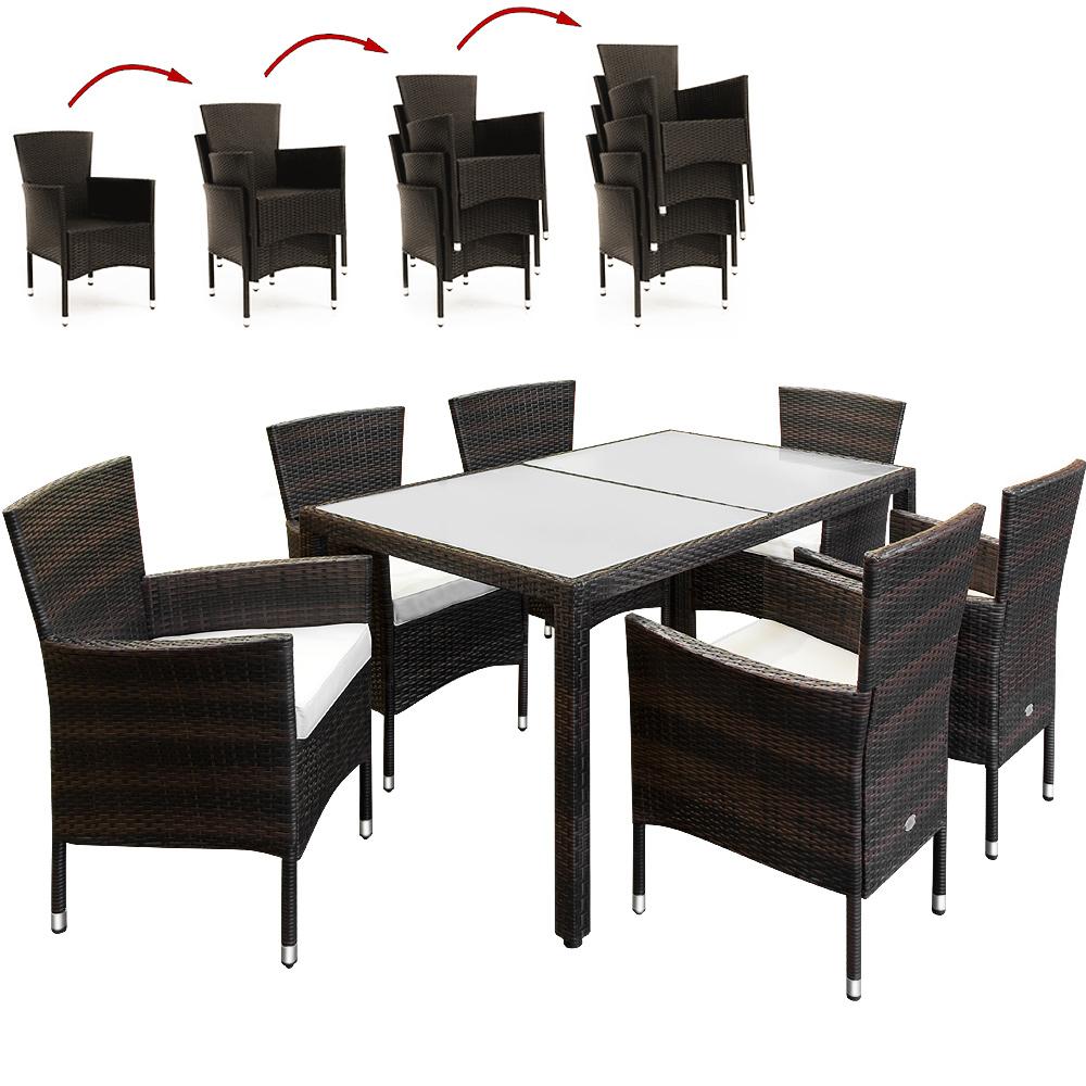 88992837 Polyrattan Sitzgarnitur 13-tlg - Milchglas - Stühle stapelbar