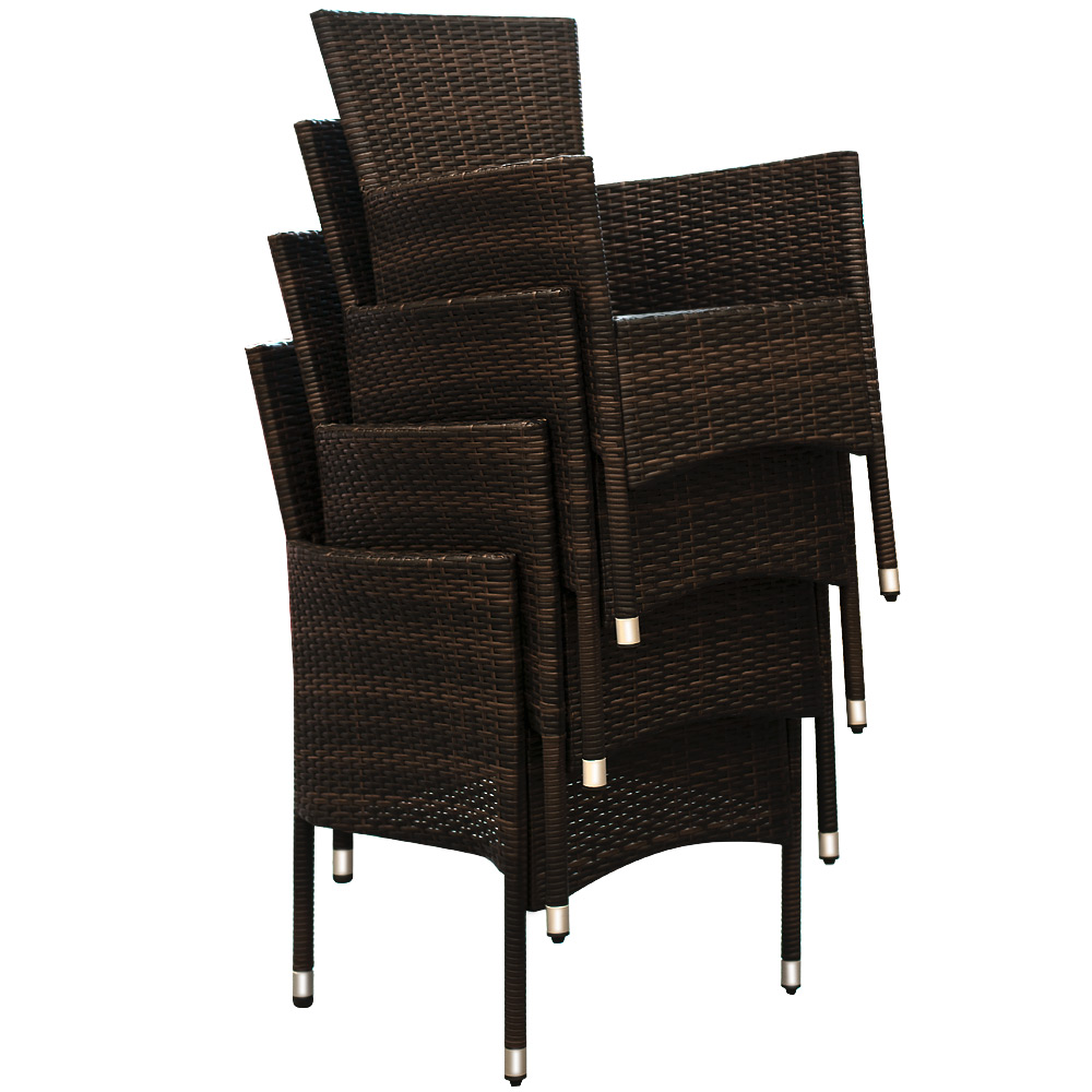 Poly Rattan Conservatory Dining Furniture Table Chairs