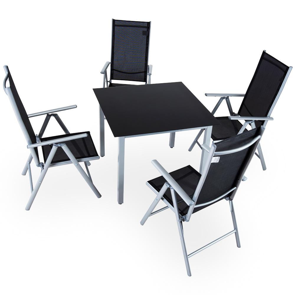 salon de jardin aluminium anthracite argent ensemble table. Black Bedroom Furniture Sets. Home Design Ideas