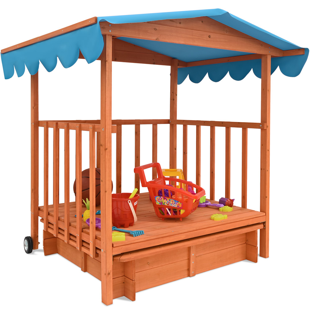 sandkasten mit dach spielveranda holz xl kinder spielhaus sandbox uv schutz 50 ebay. Black Bedroom Furniture Sets. Home Design Ideas