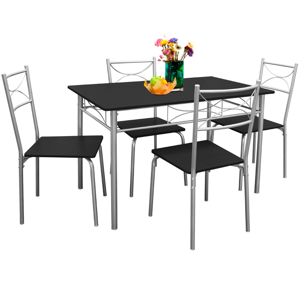 essgruppe esstisch k chentisch mit 4 st hlen sitzgruppe esszimmer tisch 5tlg set ebay. Black Bedroom Furniture Sets. Home Design Ideas