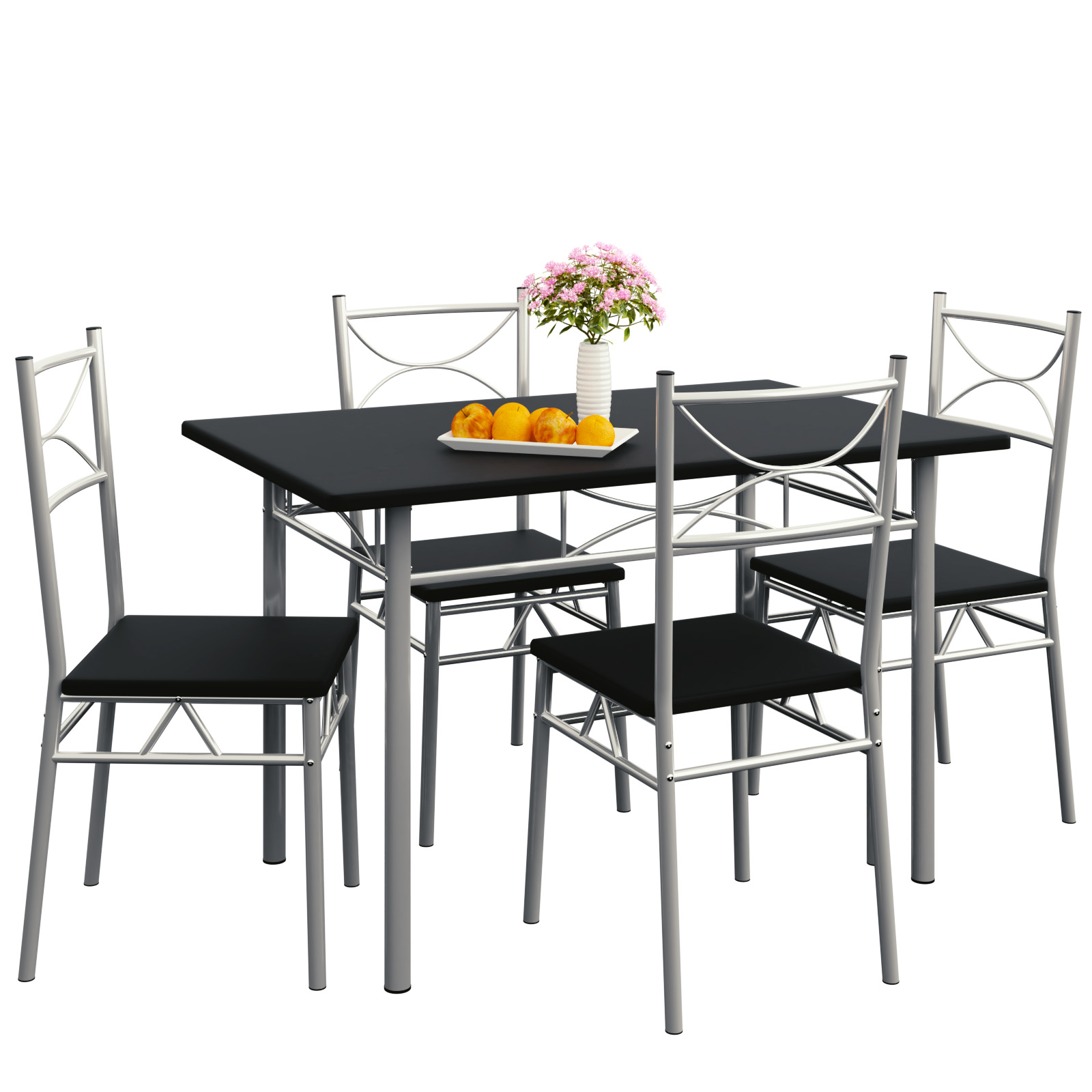 Black And White Dining Table And Chairs: Dining Table And Chairs Set Kitchen 4 Seater White Black