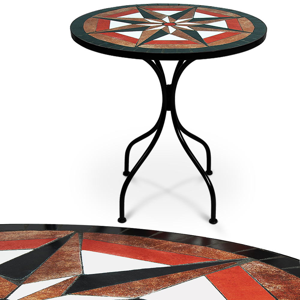 Mosaic bistro table garden patio side stand 60cm outdoor for Orange outdoor side table