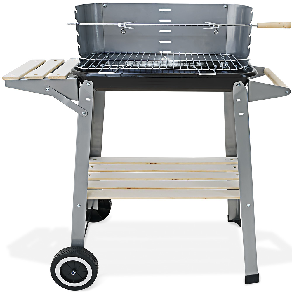 barbecue mobile 55x35cm bbq avec roues grill plan de. Black Bedroom Furniture Sets. Home Design Ideas