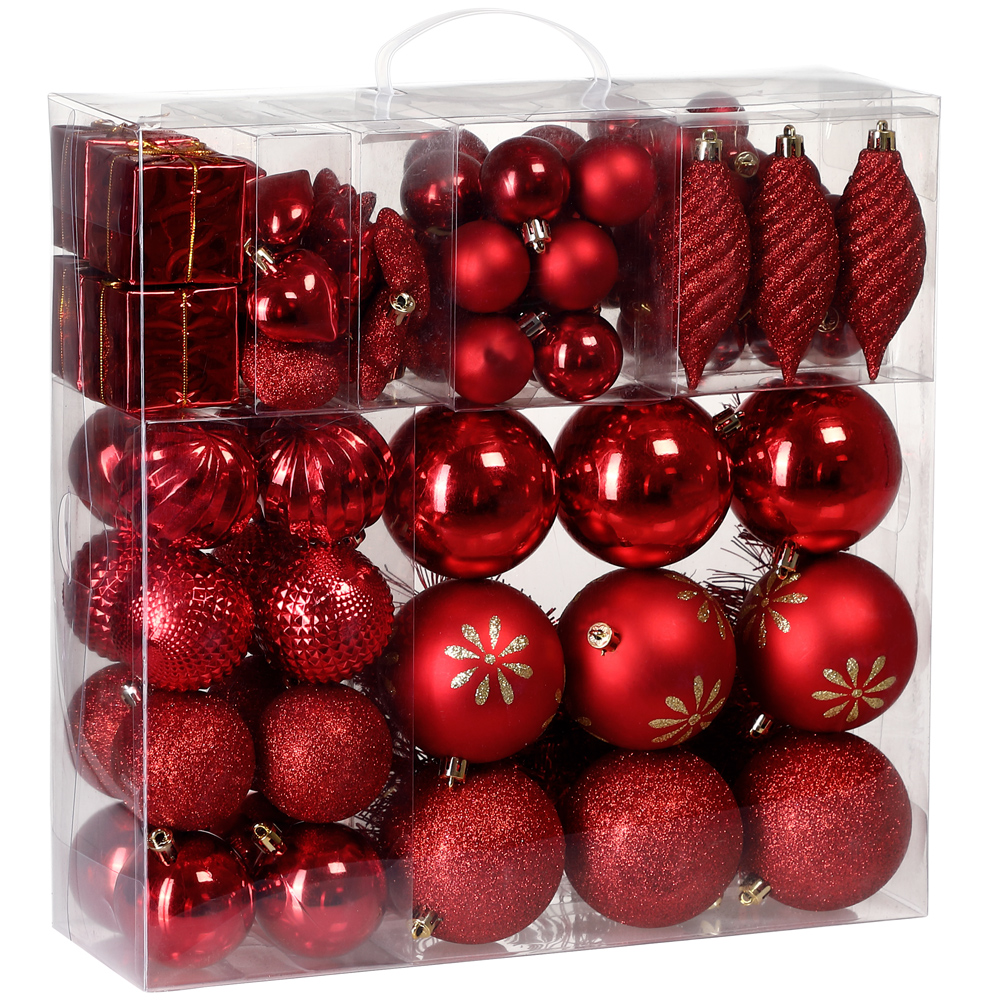 Christmas Tree With Baubles: Christmas Tree Baubles Set Xmas Balls Decorations