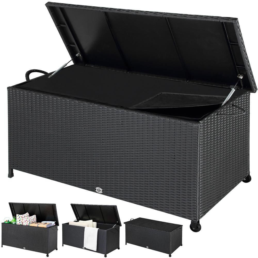 88103760 Polyrattan Auflagenbox mit Hubautomatik und Innenverkleidung schwarz