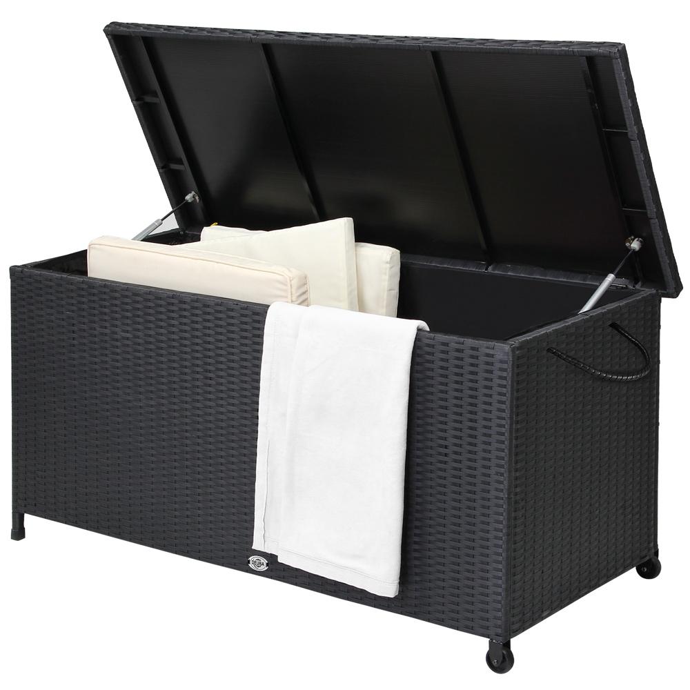 auflagenbox gartenbox gartentruhe truhe kissenbox poly rattan rattanbox kiste ebay. Black Bedroom Furniture Sets. Home Design Ideas